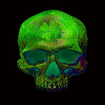 Green Clover Psychedelic Skull by diana2266