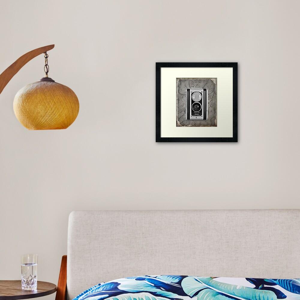 Kodak Duaflex Camera - Vintage Black and White Framed Art Print