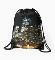 New York, Manhattan, Brooklyn, New York City, architecture, street, building, tree, car,   Drawstring Bag