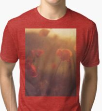 Red wild flowers poppies on hot summer day in brown warm tones Hasselblad square medium format film analogue photo Tri-blend T-Shirt