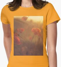 Red wild flowers poppies on hot summer day in brown warm tones Hasselblad square medium format film analogue photo Women's Fitted T-Shirt