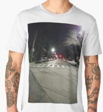 Street light, New York, Manhattan, Brooklyn, New York City, architecture, street, building, tree, car,   Men's Premium T-Shirt