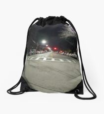 Street light, New York, Manhattan, Brooklyn, New York City, architecture, street, building, tree, car,   Drawstring Bag