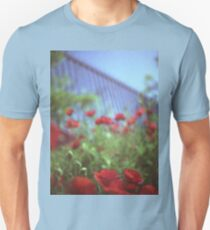 Poppies growing up fence in hot summer square Hasselblad medium format film analog photograph Unisex T-Shirt