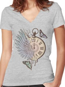 Le Temps Passe Vite (Time Flies) Women's Fitted V-Neck T-Shirt