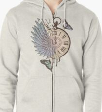 Le Temps Passe Vite (Time Flies) Zipped Hoodie