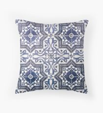 Rose Like Traditional Blue Tile From Lisbon Throw Pillow