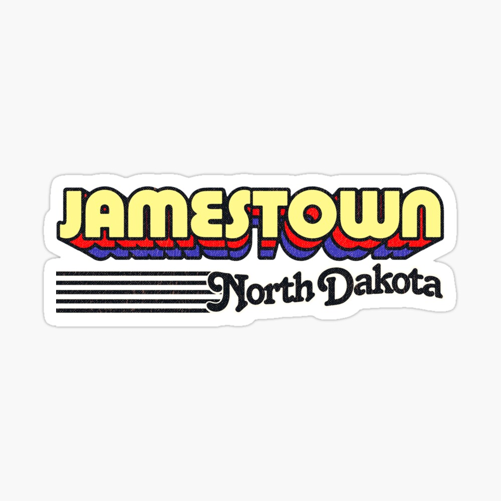 Jamestown, North Dakota   Retro Stripes Sticker