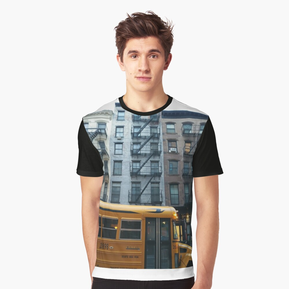 Architecture, New York, Manhattan, Brooklyn, New York City, architecture, street, building, tree, car,   Graphic T-Shirt Front