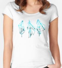 Blue and Black Geometric Feather Design Women's Fitted Scoop T-Shirt