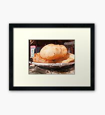 Close up of the Indian food deep fried dish of Bhature Framed Print
