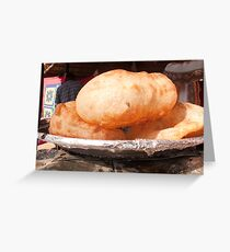 Close up of the Indian food deep fried dish of Bhature Greeting Card