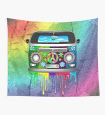 Hippie Van Dripping Rainbow Paint Wall Tapestry