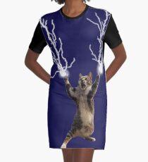Lightning Cat Graphic T-Shirt Dress