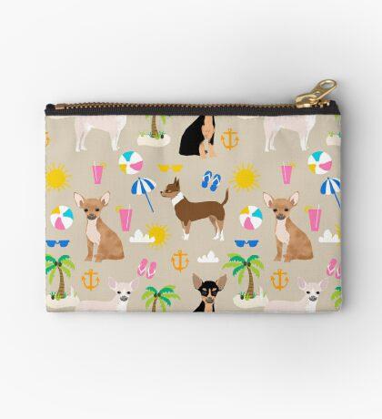 Chihuahua beach summer tropical cute chihuahuas dog gifts Zipper Pouch