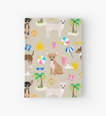 Chihuahua beach summer tropical cute chihuahuas dog gifts Hardcover Journal