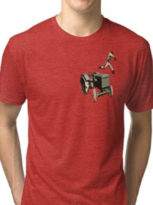the 100 meter tractor jump edit Tri-blend T-Shirt