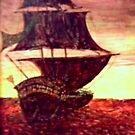 Sunset Galleon by Peter Searle ( the Elder )