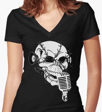 Singing Skull  Women's Fitted V-Neck T-Shirt