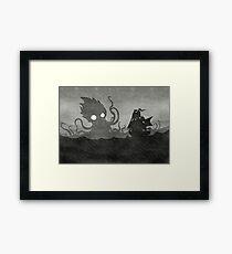 Regnerisches Schiff & Kraken Gerahmtes Wandbild