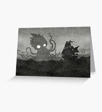 Rainy Ship & Kraken Greeting Card