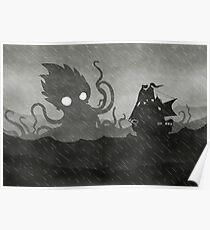 Póster Rainy Ship & Kraken
