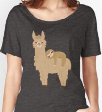 Adorable Sloth Relaxing on a Llama Relaxed Fit T-Shirt