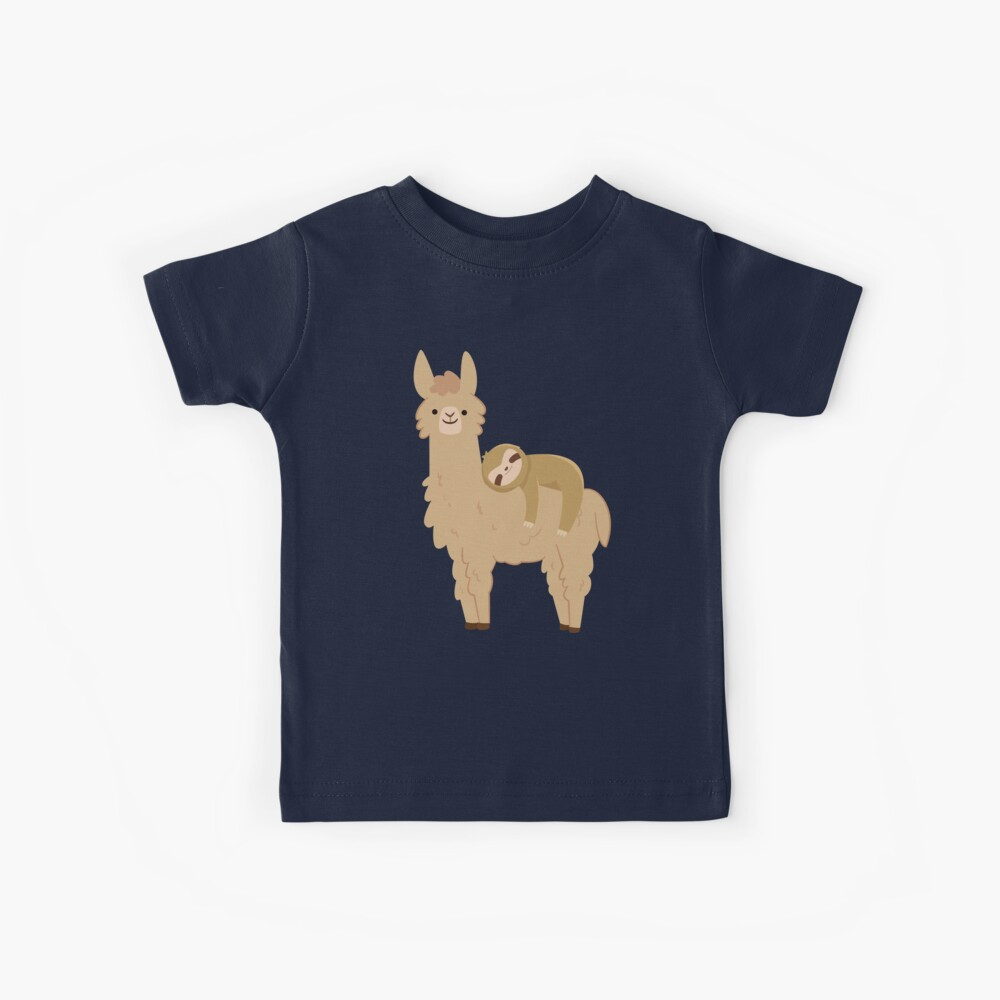 Adorable Sloth Relaxing on a Llama Kids T-Shirt