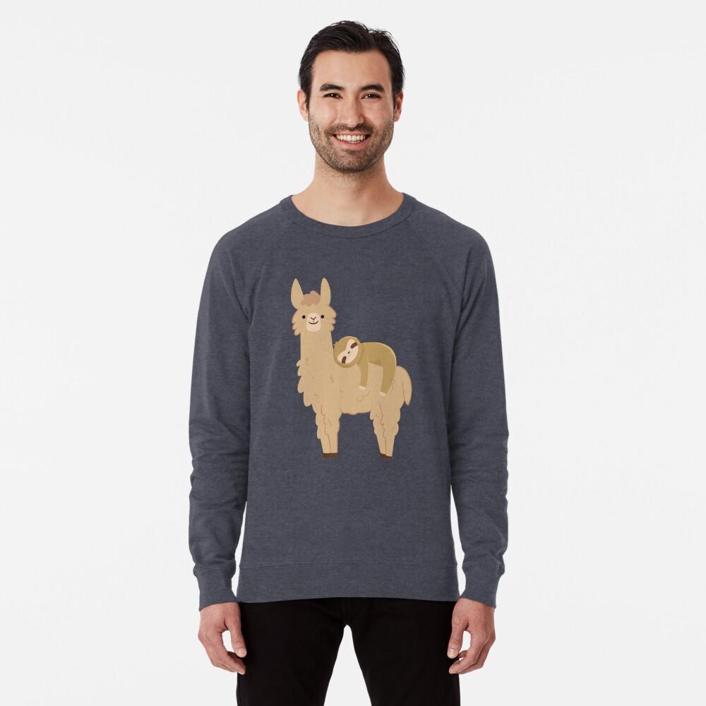 Adorable Sloth Relaxing on a Llama Lightweight Sweatshirt