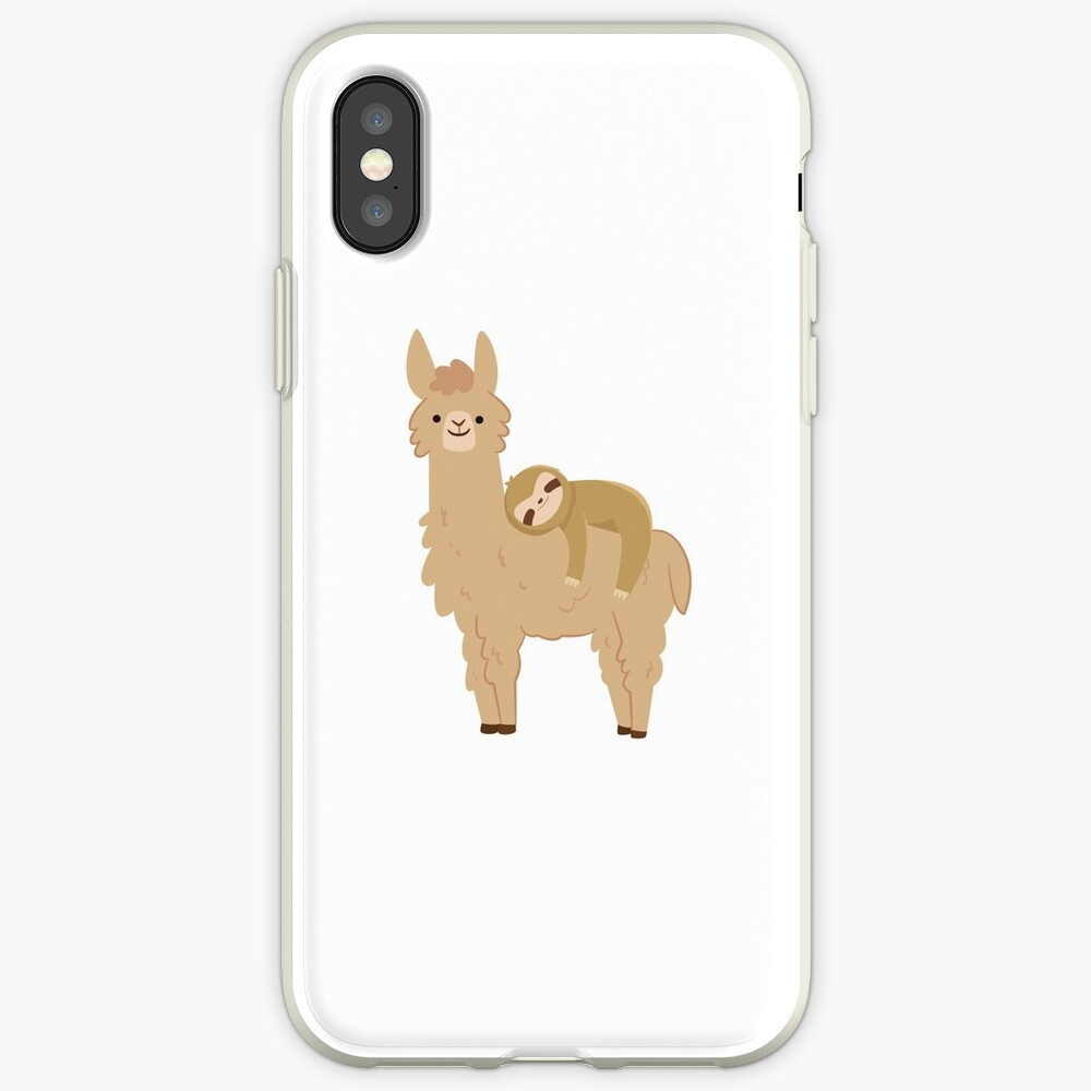 Adorable Sloth Relaxing on a Llama iPhone Case & Cover