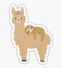 Adorable Sloth Relaxing on a Llama   Funny Llama Sloth Sticker