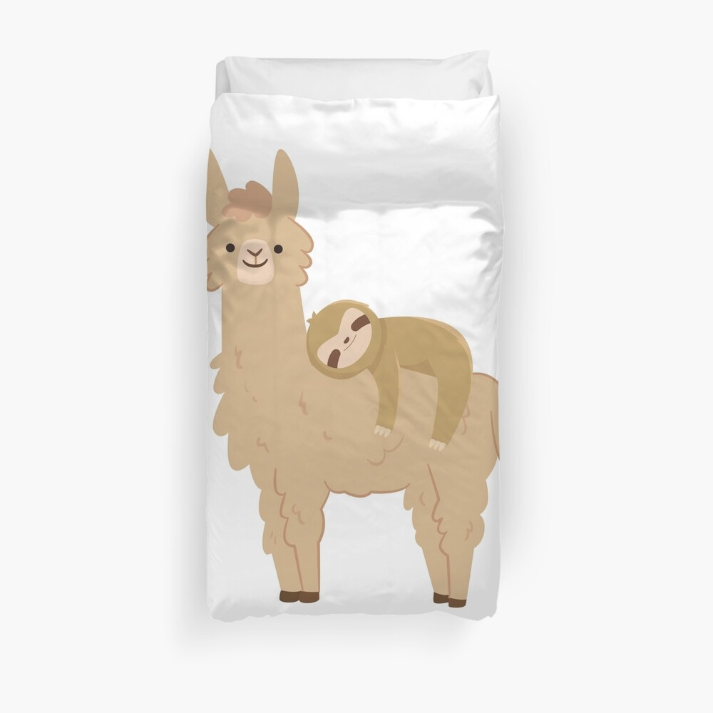 Adorable Sloth Relaxing on a Llama Duvet Cover