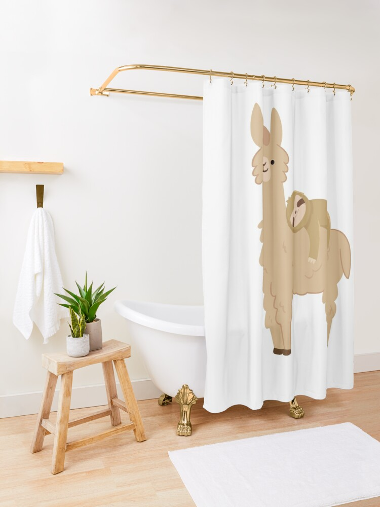 Alternate view of Adorable Sloth Relaxing on a Llama Shower Curtain