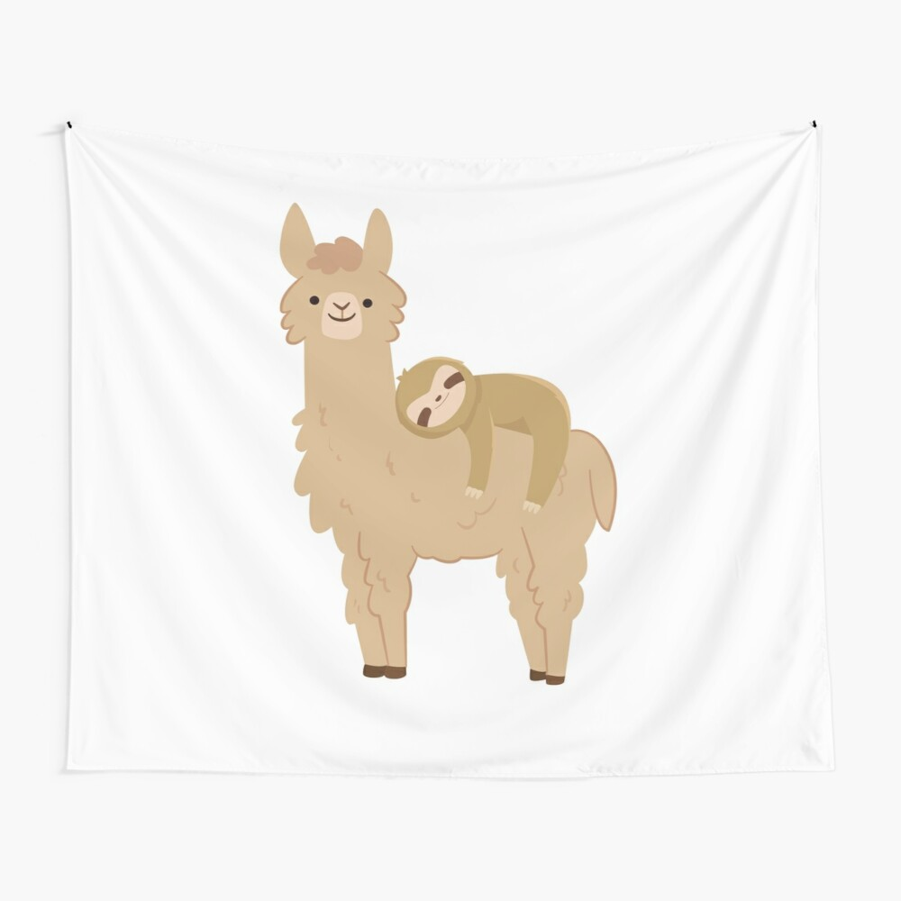 Adorable Sloth Relaxing on a Llama Wall Tapestry