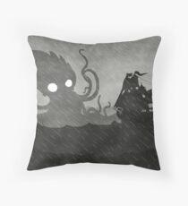 Rainy Ship & Kraken Throw Pillow