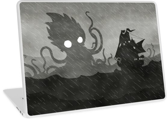 Rainy Ship & Kraken by djrbennett