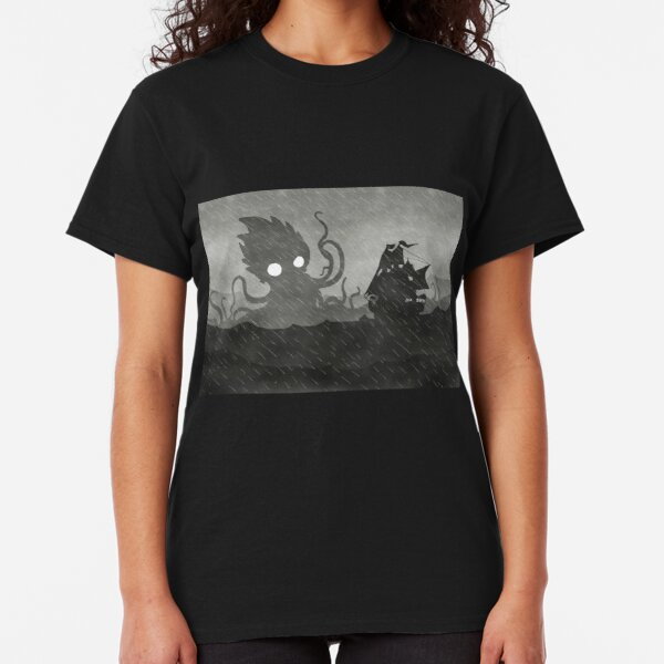 Rainy Ship & Kraken Classic T-Shirt