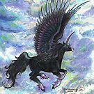 Winged Black Unicorn Flying In Sky by Stephanie Small