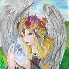 Flower Angel Magically Creating Unicorns by Stephanie Small