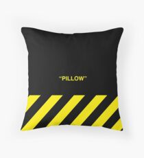 OFF-WHITE Inspired Simple Wording Illustration Yellow Throw Pillow