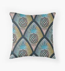 Art Deco Pineapple in Bronze and Blue Floor Pillow