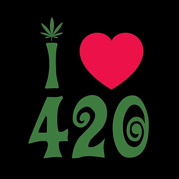 I Love 420 Cannabis Leaf Red Heart by sumwoman