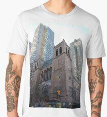 Landmark, New York, Manhattan, Brooklyn, New York City, architecture, street, building, tree, car,   Men's Premium T-Shirt