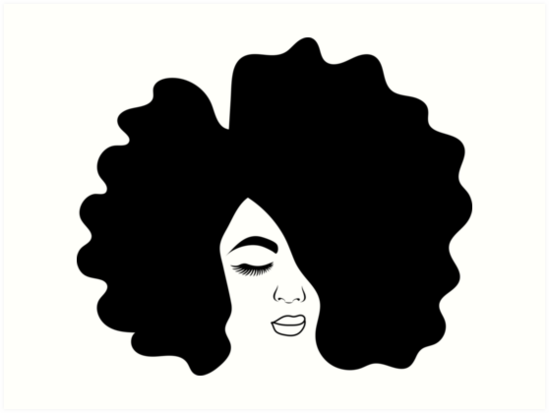 Big Afro Drawing Black Woman With Natural Hair Art Prints By