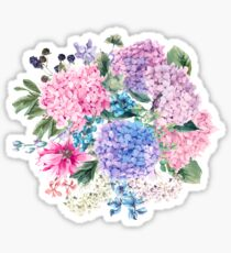 Summer watercolor vintage blooming hydrangea and garden flowers Sticker