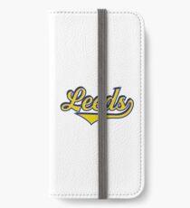 Leeds England - Vintage Sports Typography iPhone Wallet/Case/Skin