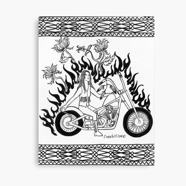 Black and White Fire Biker Canvas Print