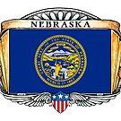 Nebraska Art Deco Design with Flag by Cleave