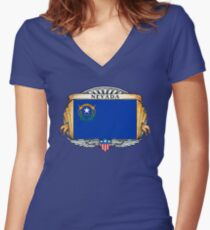 Nevada Art Deco Design with Flag Women's Fitted V-Neck T-Shirt