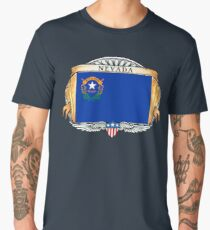 Nevada Art Deco Design with Flag Men's Premium T-Shirt